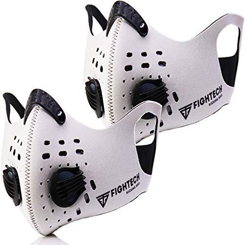 2 máscaras de polvo FIGHTECH   Kit combinado con 10 filtros de carbono activos, 2 válvulas Ait adicionales, máscara facial para la polución, alergia al polen, corte de carpintería, lavable y reutilizable (grande, blanco)