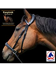 Easytrek Brida sin bits anatómica, suave cuero premium con riendas de agarre negro o marrón (mazorca mediana, marrón)