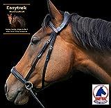 Easytrek - Briglia anatomica, morbida pelle premium con redini con impugnatura nera o marrone (pannocchia media, marrone)