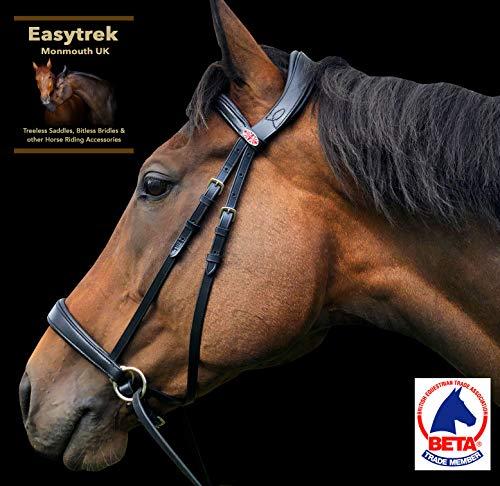 Easytrek Brida sin bits anatómica, suave cuero premium con riendas de agarre negro o marrón (grande completo, marrón)