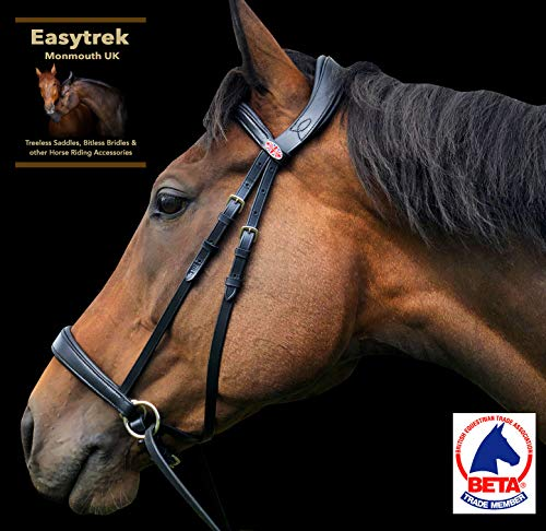 Easytrek Bitless Bridle Anatomical, soft premium leather with grip reins Black or Brown (Medium Cob,...