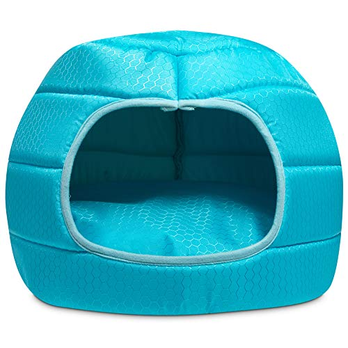Hollypet Cooling Pet Bed for Cat and Small Dog Puppy 2 in 1 Foldable Comfortable Nest Cave Sofa House for Summer, Blue