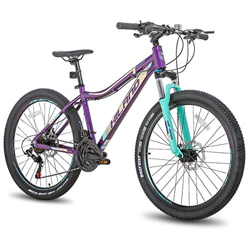 Hiland 26 Inch Mountain Bike 24Speed MTB Bicycle for Women 16 Inch with Suspension Fork Urban Commuter City Bicycle Purple
