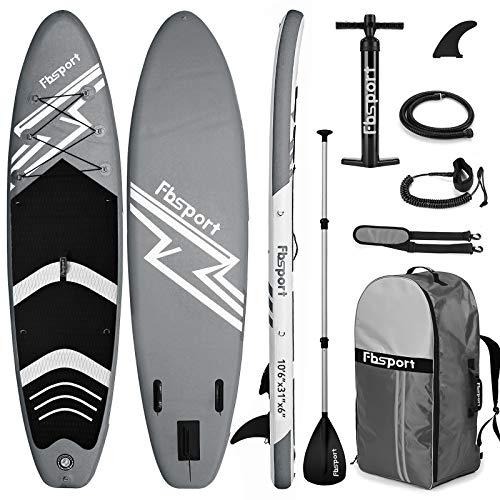 FBSPORT Tabla Sup Hinchable, Tabla de Surf Hinchable, Tabla Inflable de Paddle Surf, Sup Kit con Remo de Aluminio+Accesorios Completos | Medidas: 320×78×15cm