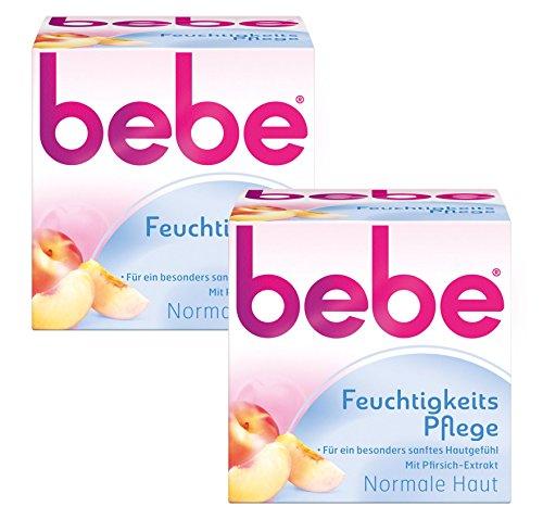 bebe Feuchtigkeitspflege - Sanfte Feuchtigkeitscreme mit Vitamin E für normale Haut - 2 x 50ml