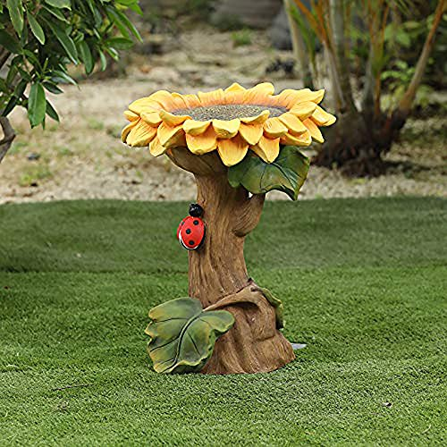 Polyresin Sunflower Bird Bath, Handmade Wild Bird Feeder and Birdbath Bowls, Garden Bird Bath with Leaves and Ladybug, Birdbath Stands & Bases Stakes for Outdoors Garden Backyard
