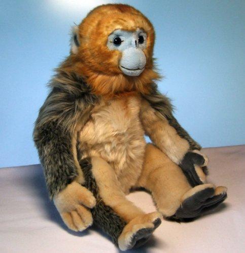 Wollis D3043 - Affe - Goldstumpfnase sitzend 30 cm Golden Snub-nosed Monkey von Unitoys, Plüschhund, Kuscheltier
