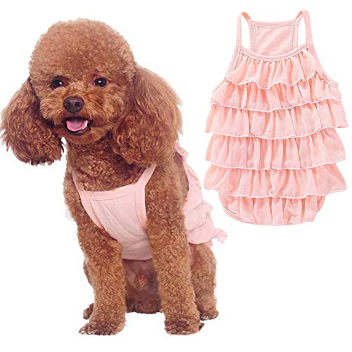 Ardorlove Hond Jurken Pet Plissé Mouwloos Vest Rok Kat en Hond Decoratie, Large, roze