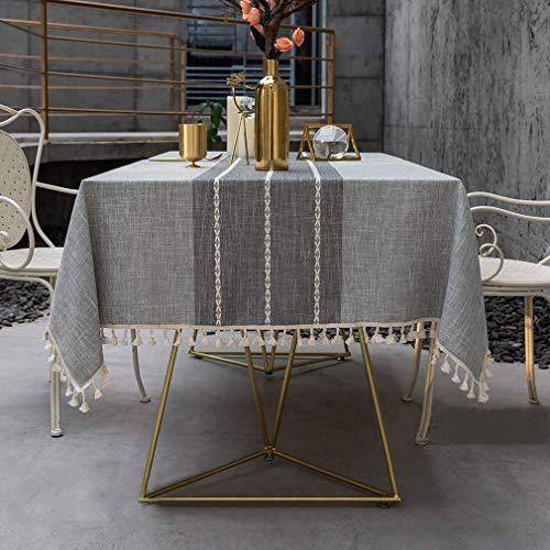 Pahajim Tablecloths Rectangular Cotton Linen Stripe Tassel Table Cloth Washable Waterproof Table Covers Wipe Clean Dust Proof Coffee Garden Table Decoration 55x55 inch (140x140cm)