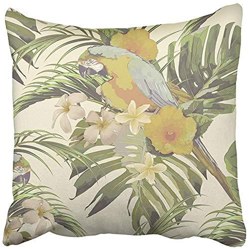 Pillow Cover Mooie bloemen met tropische bloemen hibiscus palmbladeren jungle blad Monstera papegaaien exotische boekhandel vierkant ziekenhuis verborgen ritssluiting