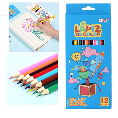 fine_fine 12 Count Colored Pencils Set, Wood Painting Pen Color Pencils Kids Drawing, for Adult Coloring Books, Assorted Colors Children Hand-made Colored Pencil (A)