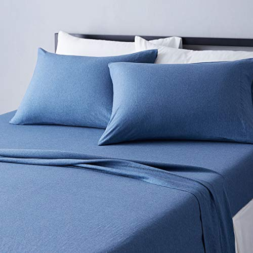 Amazon Basics Heather Cotton Jersey Bed Sheet Set...
