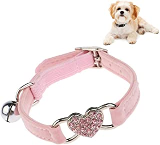 Adjustable Cat Collar with Heart Charm and Bell Soft Velvet Material Pet Collar,Pink