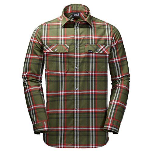 Jack Wolfskin Valley Shirt Large Woodland Green Checks