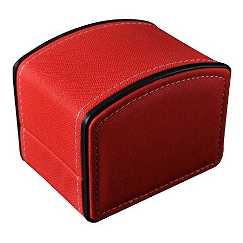 SONGAI Vintage Arc Shape Faux Leather Watch Protective Box Organizer Jewelry Decor Case,Colour Name:Red Bracelets Earrings Rings Necklaces (Color : Red)