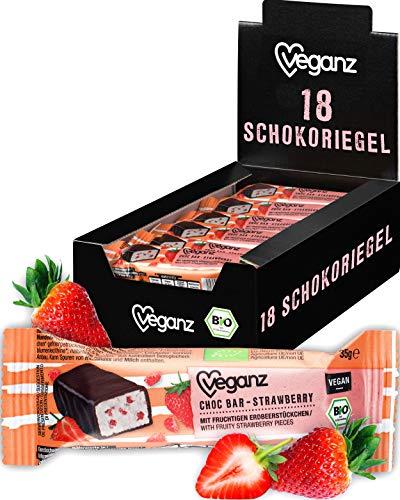 Veganz BIO Choc Bar Strawberry mit cremiger Erdbeer-Füllung in Zartbitterschokolade - Veganer Schokoriegel 18 x 35g