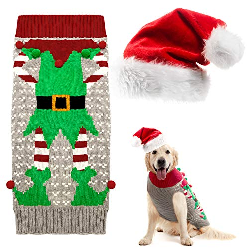 Disfraz de Navidad de Perro Suéteres Sudadera con Capucha y Gorro de Navidad de Perros Suéter de Invierno de Mascotas con Patrón de Payaso y Gorro de Santa Navidad para Perro Grande
