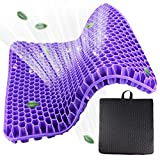 Jollypop Large Seat Cushion, Purple Gel Seat Cushion for Long Sitting, Cooling Breathable Gel Seat Cushion with Non-Slip Cover, for Office Chair Car Wheelchair to Pressure Relief