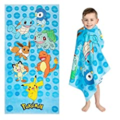 POKEMON DESIGN: Your little Pokemon trainers will love this cool and colorful beach towel. Featuring a power group of popular Pokemon that includes, Pikachu, Squirtle, Charmander, Bulbasaur, Meowth, Eevee and Pinlup this towel is sure to be a hit wit...