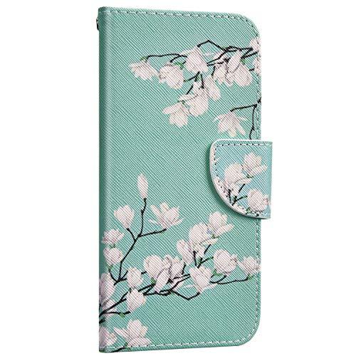 Saceebe Compatible avec Huawei P Smart Z Housse Portefeuille Cuir Coque 3D Motif Coloré Coque Flip Wallet Case Porte-Cartes Support Stand Clapet Etui Housse de Protection,Fleur Blanc