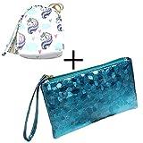 jingyuu Cartera Casual de Moda de Cuero de la PU Bolso de Mano para Mujer 19 * 11 * 2cm,Azul