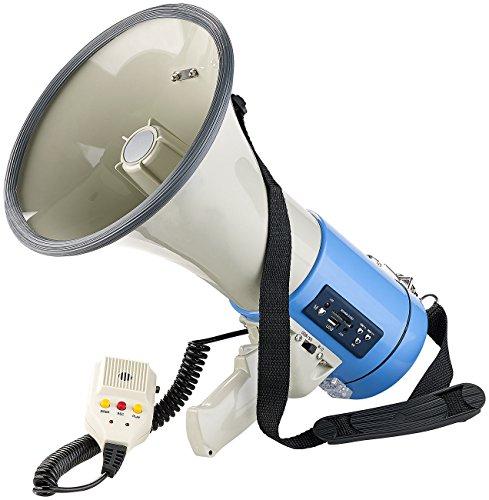 infactory Megaphon: MP3-Megafon mit Voice-Recording, Wiedergabe von USB, SD & AUX, 50 Watt (Megafone mit MP3 Playern)