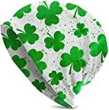 suizhoufa Bonnets Watercolor St. Patrick's Day Lucky Shamrock Casual Fashion Autumn and Winter Knit Hat Soft Warm Ski Caps Unisex Soft Cotton Warm Hooded Cap Outdoor Hat Black Daily Going Out Unisex