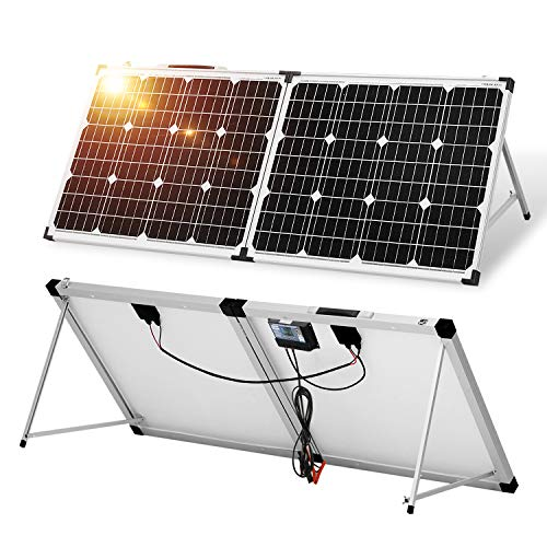 DOKIO Kit Panneau solaire PLIABLE 100WC - 12V AVEC INVERSEUR Solaire et 2 ports USB