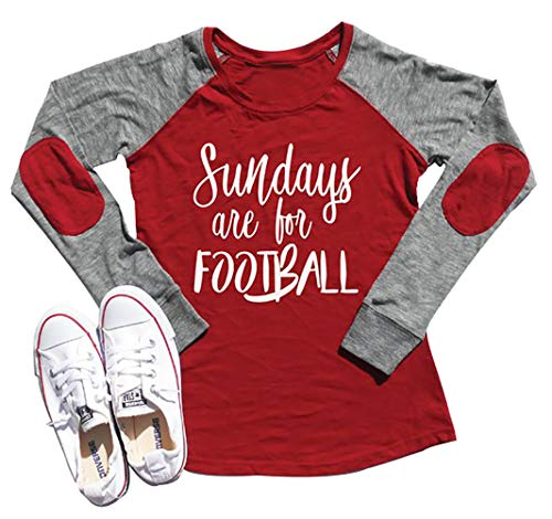 Sundays are for Football Super Bowl 2020 T Shirt Women Elbow Patch Raglan Long Sleeve Baseball Tee Casual Tops (S, Red)
