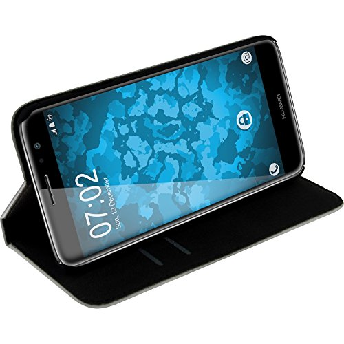 PhoneNatic Kunst-Lederhülle kompatibel mit Huawei Nova Plus - Book-Hülle weiß + 2 Schutzfolien