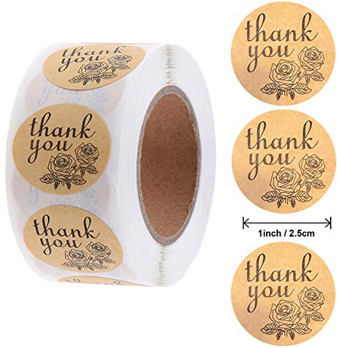 Thank You Stickers Roll of 500,Round 1Inch   Kraft Paper Thank You Labels Roll Boutique Supplies for Business Packaging   Thank You Stickers 500 for Bubble Mailers & Bags