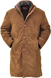 Natural Distressed Genuine Suede Leather Pea Coat for Men - Tan Bown Suede Jacket