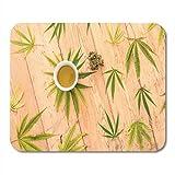 Mauspad selbstgemachtes cannabis marihuana hanföl in weißer schüssel mousepad für notebooks,...