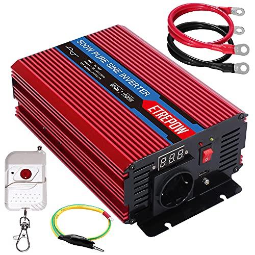 Inversor 12V a 220V/230V Onda sinusoidal Pura 500W /1000W ETREPOW Convertidor de Voltaje con Toma EU y Puerto USB, Mando a Distancia inalámbrico y Pantalla Digital, Ventilador Inteligente