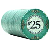 25 $25 Scroll 10 Gram Ceramic Casino Quality Poker Chips