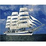 ZXDA Pintura por números Barco Pintura Digital Paisaje Barco en Cavans sin Marco imágenes de Bricolaje por números A10 40x50cm