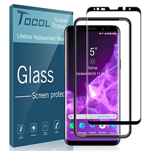 TOCOL Compatible with Samsung Galaxy S9 Plus, Not for Galaxy S9 - Screen Protector Tempered Glass 3D Curved Full Coverage Easy Installation Tray