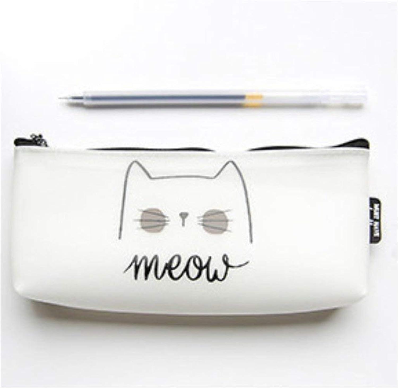 HUAIX Home Schreibwaren Zubehör Federmäppchen Simple Simple Simple Style Cat Pattern Federmäppchen Federmäppchen Federtasche (Weiß) B07MHK18SM  | Zu einem erschwinglichen Preis  a54c2a