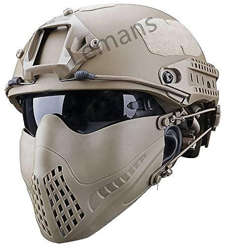 Casco Táctico Rápido Ajustable con Media Máscara Plegable Transpirable Y Conjunto Combinado De Gafas De Protección UV, Corona Ajustable De Casco con 20 mm
