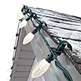 NOMA C9 LED Quick Clip Christmas Lights | Built-in Clip-OnString Lights | 100 Warm White Bulbs | 66.8Foot Strand