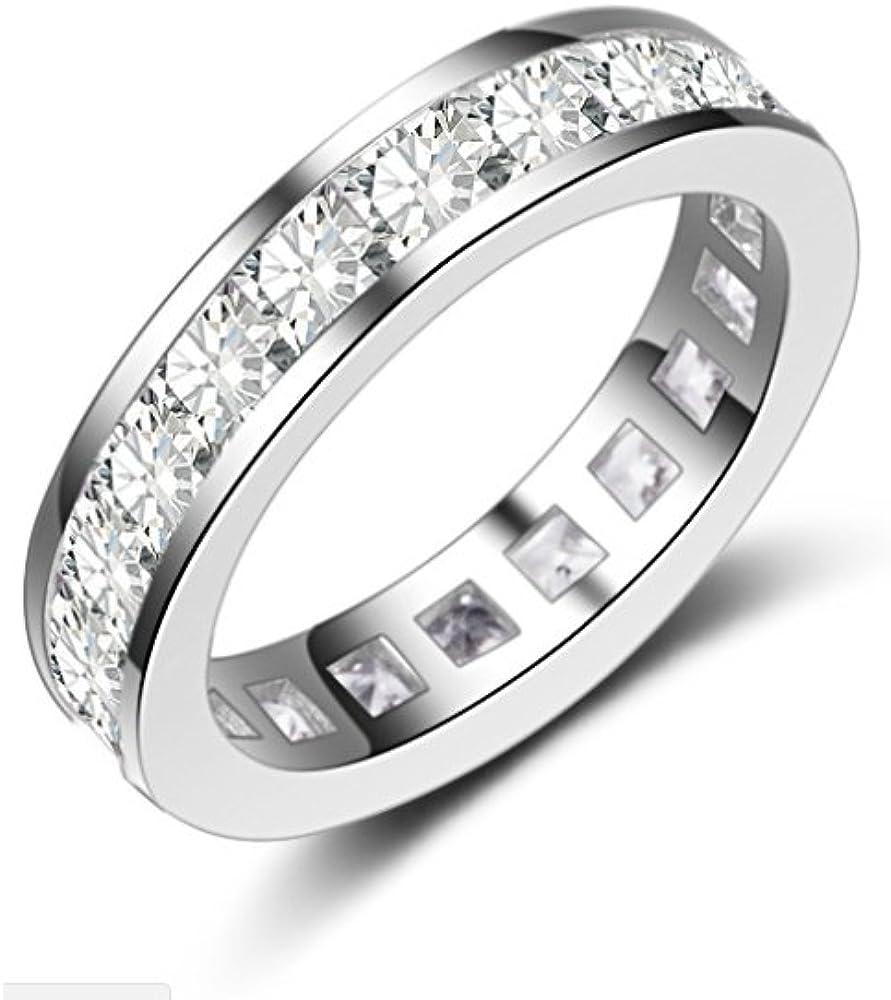 BeFab Full Eternity Wedding Band Emerald Princess Cut CZ Stacking Anniversary Engagement Ring 4MM