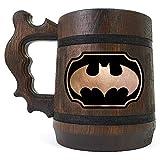 Batman Animated Series Stein, Wooden Beer Mug, Batman Engraved Beer Mug, Custom Beer Mug Gift for Gamer, Handmade Wooden Tankard