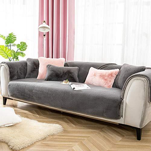 B/H Tejido elástica Cubiertas de sofá,Funda de sofá Antideslizante, Funda de sofá de Felpa de Lujo Ligero Gris_90 * 70cm,Cubre Sofa Universal Tejido de Poliéster