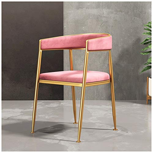ADGEAAB Sillas de comedor de terciopelo con patas doradas de acero inoxidable para sala de estar, terraza, oficina, cocina, salón (color: rosa)