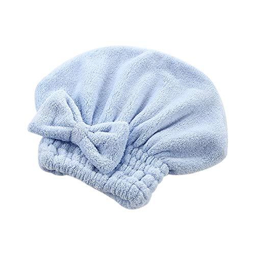 QIANSDZSW Sombrero Cabello Seco Hombra de Pelo de Microfibra de Dibujos Animados de Dibujos Animados Sombrero de Pelo rápido Sombrero Envuelto Toalla de baño (Color : Blue)