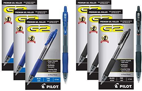 PILOT G2 Premium Refillable & Retractable Rolling Ball Gel Pens, Fine Point, Black Ink, (72 Combo Pack, Black/Blue)