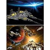 GREAT ART Set de 2 Posters XXL – Aventura en una Nave Espacial - Halcón y Transbordador Espacial Galaxia Universo Planetas Nave Espacial Estrellas decoración de la habitación Fotos (140 x 100cm)