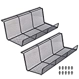 KEEGH Under Desk Cable Management Tray, Metal Cable Tray, Under Table Cable Basket Organizer, 17 inch Super Sturdy Cord Holder for Desk, Set of 2 Black