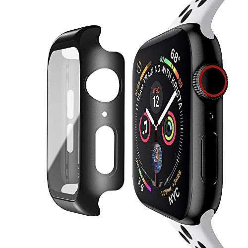baozai Compatible with Apple Watch 44mm Case with Built-in Tempered Glass Screen Protector, Full Coverage Hard...