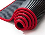 zhcheng tappetino yoga premium 10 mm super spesso 183 cm x 61 cm tappetino yoga antiscivolo di alta qualità nrb fitness pilates tappetino fitness sport inodore-nero